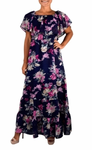 1970 Style Gypsy Womens Bohemian Vintage Floral On or Off the Shoulder Maxi Dress (Blue)