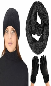 Black 3pc Winter Set for Women