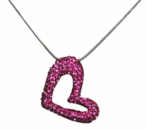 92.5 Jewelry Sterling Silver Heart Pendant with Pink Cz Stones