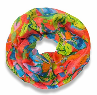 Coral Tropical Hibiscus Flower Infinity Loop Scarf