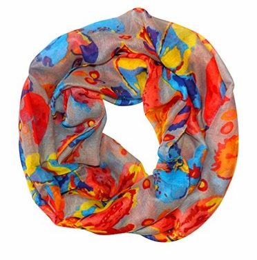 Gray Tropical Hibiscus Flower Infinity Loop Scarf