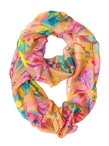 Abstract Colorful Tropical Hibiscus Flower Infinity Loop Scarf (Tan)