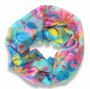 Abstract Colorful Tropical Hibiscus Flower Infinity Loop Scarf (Teal)