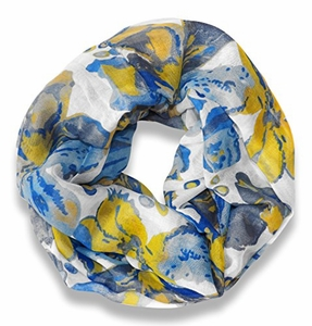 Abstract Colorful Tropical Hibiscus Flower Infinity Loop Scarf (White)