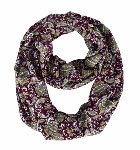 Adorable Mod Colorful Paisley Print Infinity Loop Wrap Scarf (Maroon)