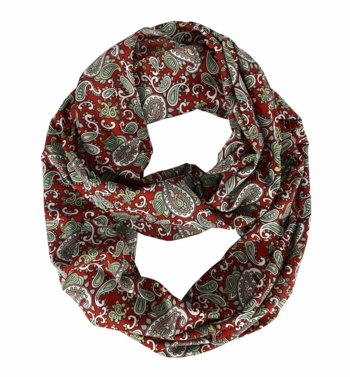 Red Colorful Paisley Print Infinity Loop Wrap Scarf