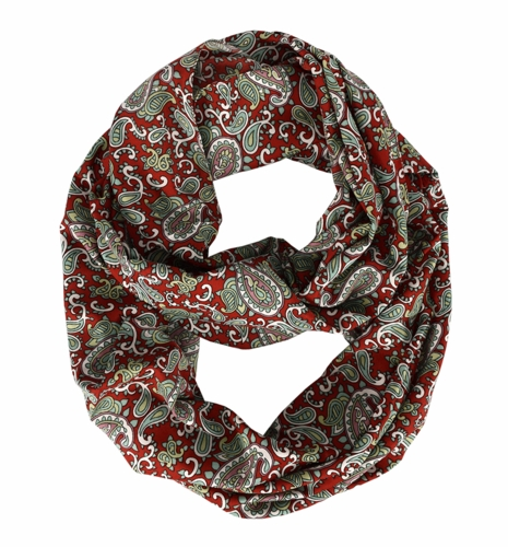 Adorable Mod Colorful Paisley Print Infinity Loop Wrap Scarf (Red)