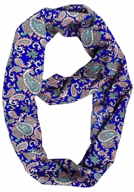 Royal Blue Colorful Paisley Print Infinity Loop Wrap Scarf
