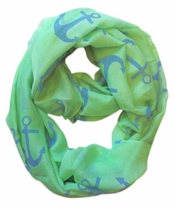 All Season's Infinity Loop Anchor Print Scarf (Green Large Solid)
