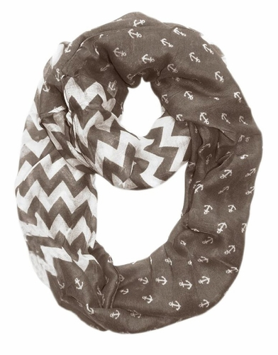Grey Chevron Nautical Anchors Infinity Loop Scarf(Large)