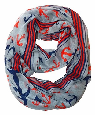 Grey Nautical Anchors Infinity Loop Scarf (Large)