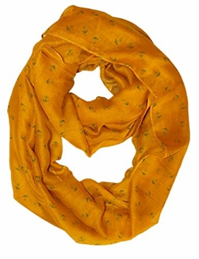 Mustard Nautical Anchors Infinity Loop Scarf