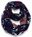 Navy Nautical Anchors Infinity Loop Scarf (Large)