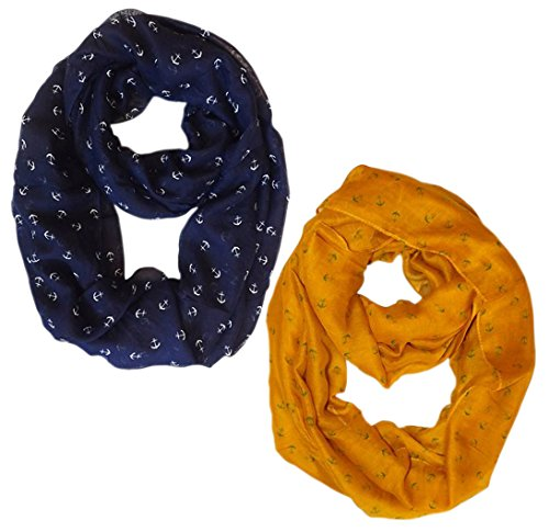 Navy-Mustard Nautical Anchors Infinity Loop Scarf 2-Pack Set