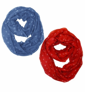 Periwinkle Blue-Red Nautical Anchors Infinity Loop Scarf  2-Pack Set
