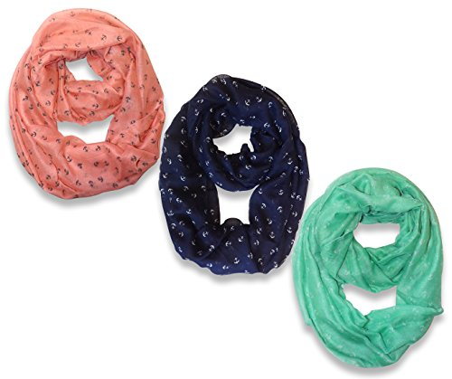 Nautical Anchors Infinity Loop Scarf  3-Pack Set (Pink/Navy/Aqua)