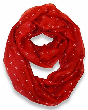 Red Nautical Anchors Infinity Loop Scarf