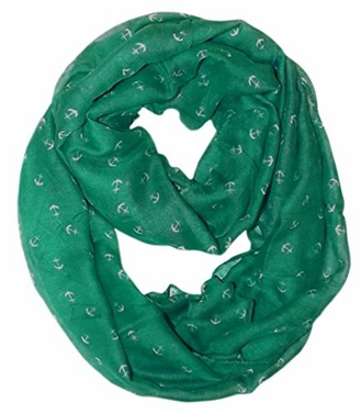 Teal Nautical Anchors Infinity Loop Scarf