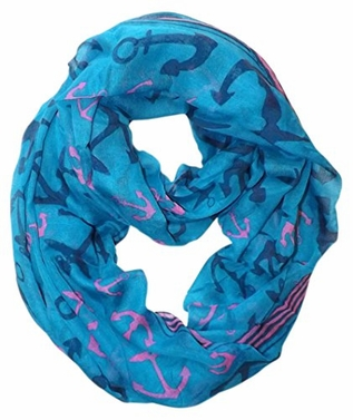 Teal Nautical Anchors Infinity Loop Scarf (Large)