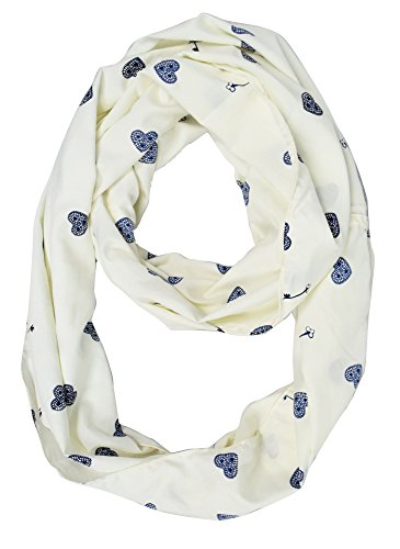 White Navy Heart Nautical Anchors Infinity Loop Scarf