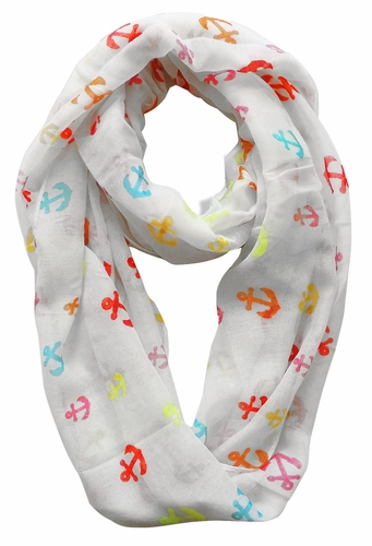 White-Rainbow Nautical Anchors Infinity Loop Scarf