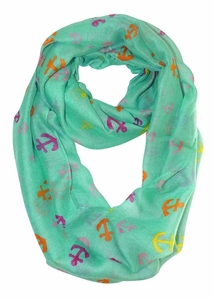 Aqua-Rainbow Nautical Anchors Infinity Loop Scarf