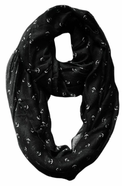 Black Nautical Anchors Infinity Loop Scarf
