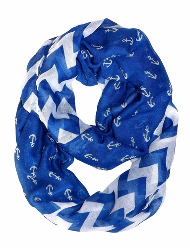 Blue Chevron Nautical Anchors Infinity Loop Scarf (Large)