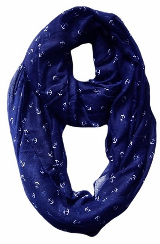 Navy Nautical Anchors Infinity Loop Scarf