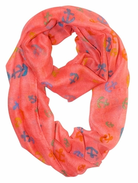 Pink-Rainbow Nautical Anchors Infinity Loop Scarf