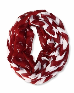 Red Chevron Nautical Anchors Infinity Loop Scarf (Large)