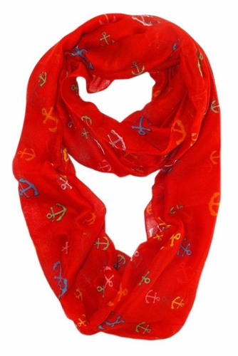 Red-Rainbow Nautical Anchors Infinity Loop Scarf