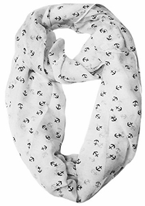 White Nautical Anchors Infinity Loop Scarf