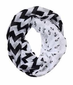 All Season's Nautical Anchors Infinity Loop Scarf (White/Black Large)