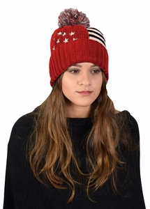 Red American Flag Pom Pom Hat Beanie
