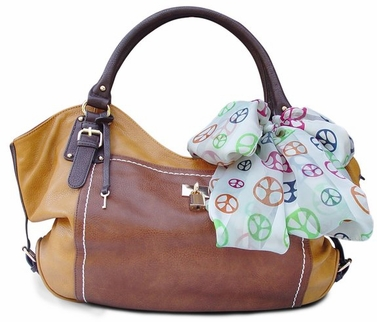 Coffee Lock and Key Top Handle Oversize Tote Tied Scarf Handbag