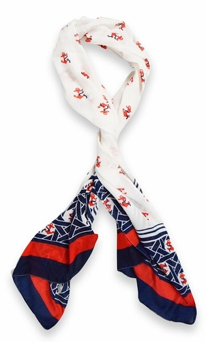 Anchor Print Infinity Loop Scarf - Red / White