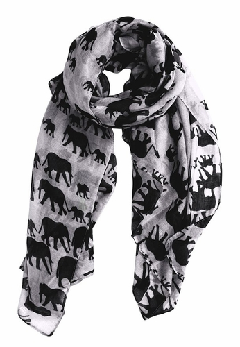 Animal Print Artsy Elephant Flower Soft and Flowing Scarf (White)