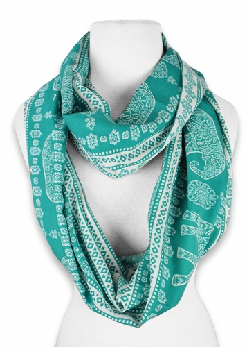Turquoise-White Animal Print Infinity Loop Scarf