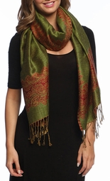 Army Green Red Ravishing Reversible Pashmina Shawl with Braided Fringe
