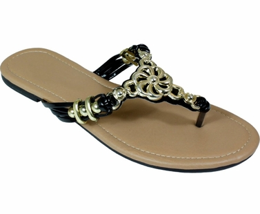 Black Metal Braided Floral Bead Strap Thong Flat Sandal