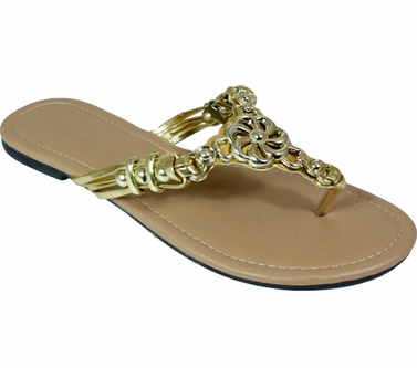 Gold Metal Braided Floral Bead Strap Thong Flat Sandal