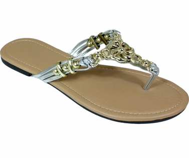 Silver Metal Braided Floral Bead Strap Thong Flat Sandal