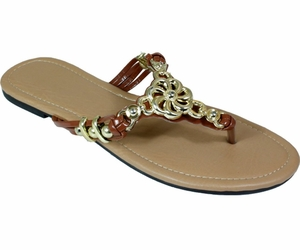 Brown Metal Braided Floral Bead Strap Thong Flat Sandal