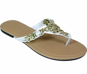 White Metal Braided Floral Bead Strap Thong Flat Sandal