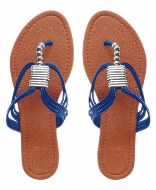 Blue AVA Beaded Open Back Thong Sandal Flats