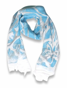 Beach Nautical Shell Seahorse Coral Reef Lightweight Fringe Scarf (Aqua)