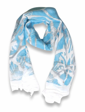 Aqua Beach Nautical Shell Seahorse Coral Reef Lightweight Fringe Scarf