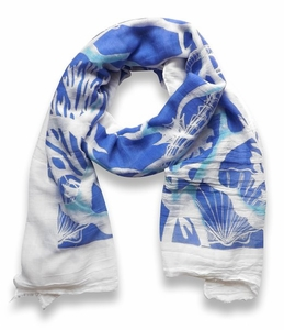 Beach Nautical Shell Seahorse Coral Reef Lightweight Fringe Scarf (Blue)