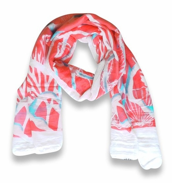 Coral Beach Nautical Shell Seahorse Coral Reef Lightweight Fringe Scarf